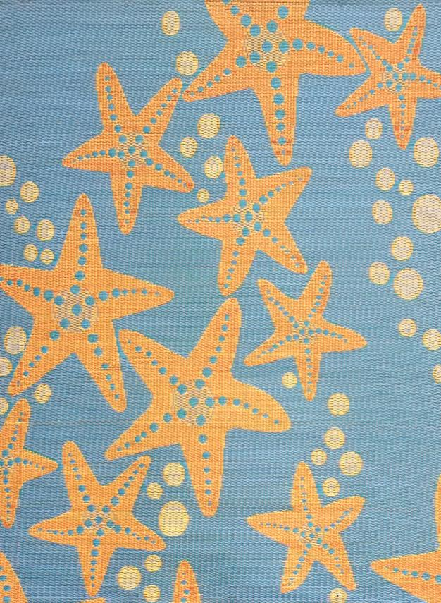 Mad Mats Starfish Periwinkle Salmon Indoor/Outdoor Mat
