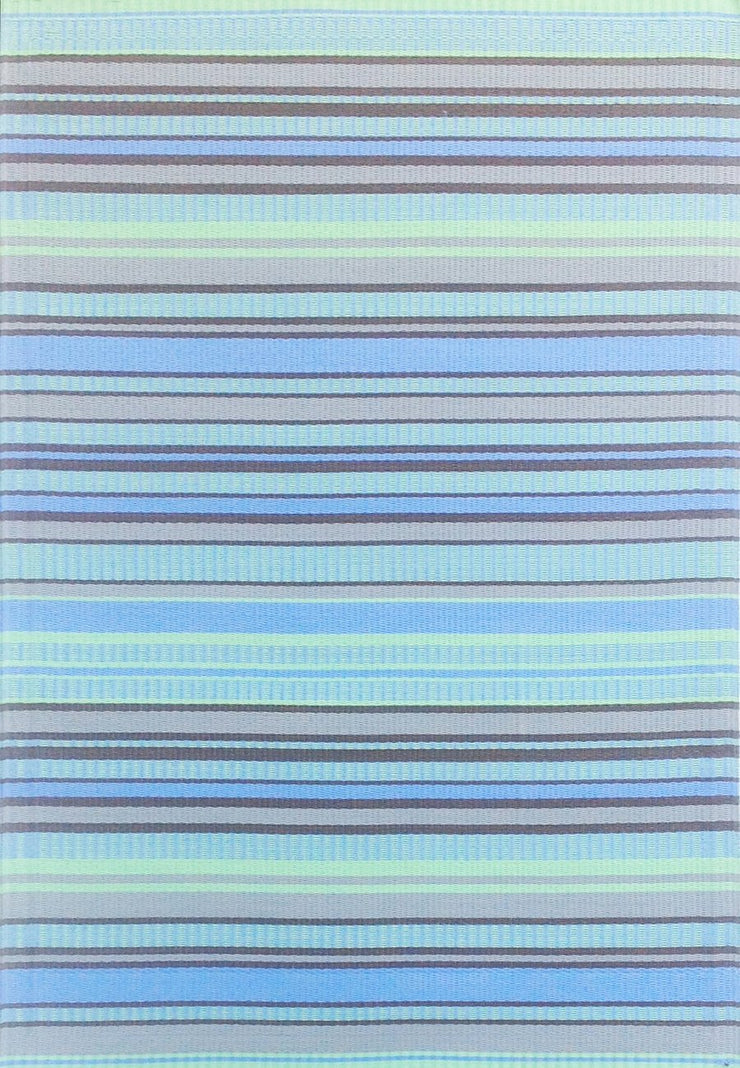 Mad Mats Stripes Gray Aqua Indoor/Outdoor Mat