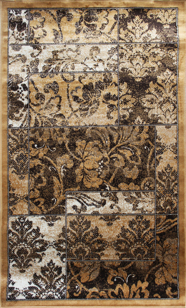 Art. Silk Wild Flower Tan Rug