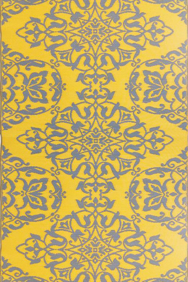 Mad Mats Wrought Iron Yellow/Silver Indoor/Outdoor Mat
