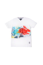 Brock | Men's Short Sleeve V-neck Knit with Rabbit Print