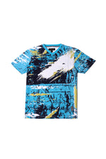 Zach | Men's Short Sleeve V-neck Knit T-shirt with Graphic Print