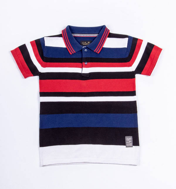 Giovanni | Boys Short Sleeve Striped Sweater Knit Polo