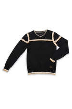 Reynolds | Long Sleeve Vee With Contrast Stripes Sweater