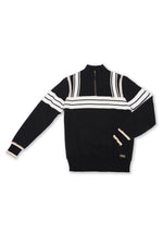 Harper | Long Sleeve 1/2 Zip Striped Sweater