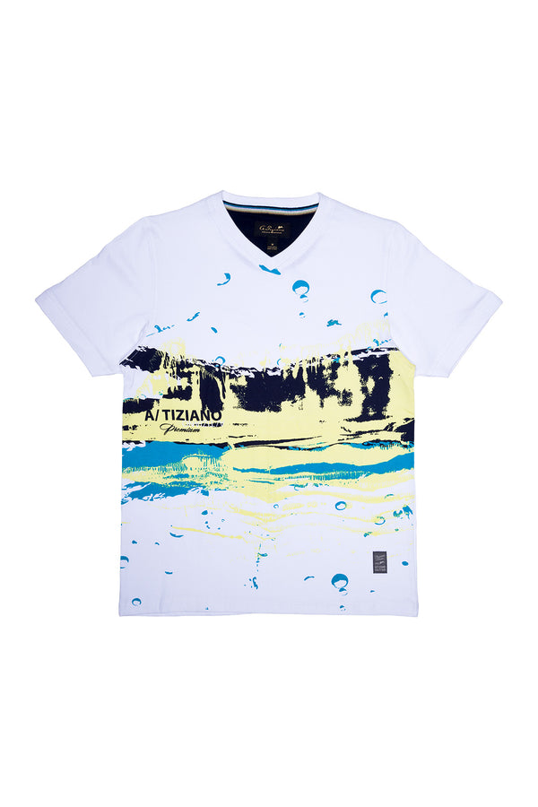 Ronald | Short Sleeve Vee Neck Graphic Tee