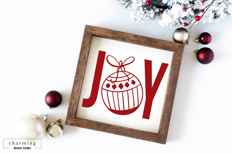 Joy Ornament Wood Sign - Charming Wood Home
