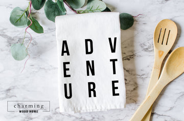 Adventure Farmhouse Tea Towel - Charming Wood Home