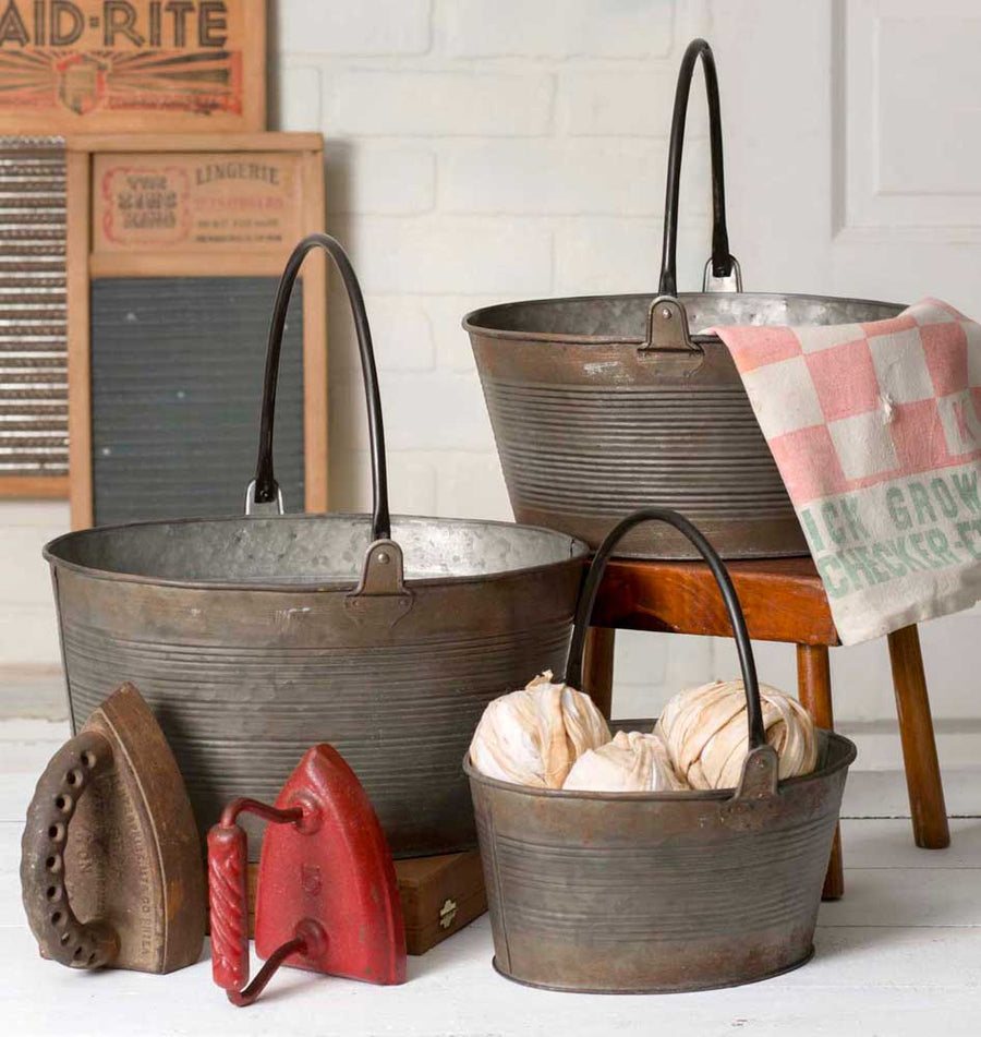 Set of Three Round Buckets with Handles - Charming Wood Home