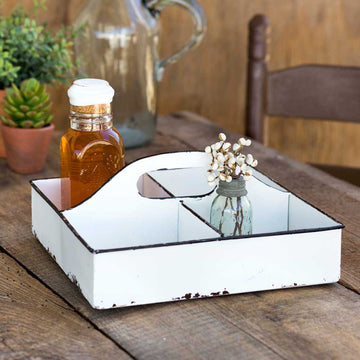 White Divided Tool Caddy - Charming Wood Home