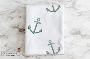 Anchor Watercolor Minky Blanket - Charming Wood Home