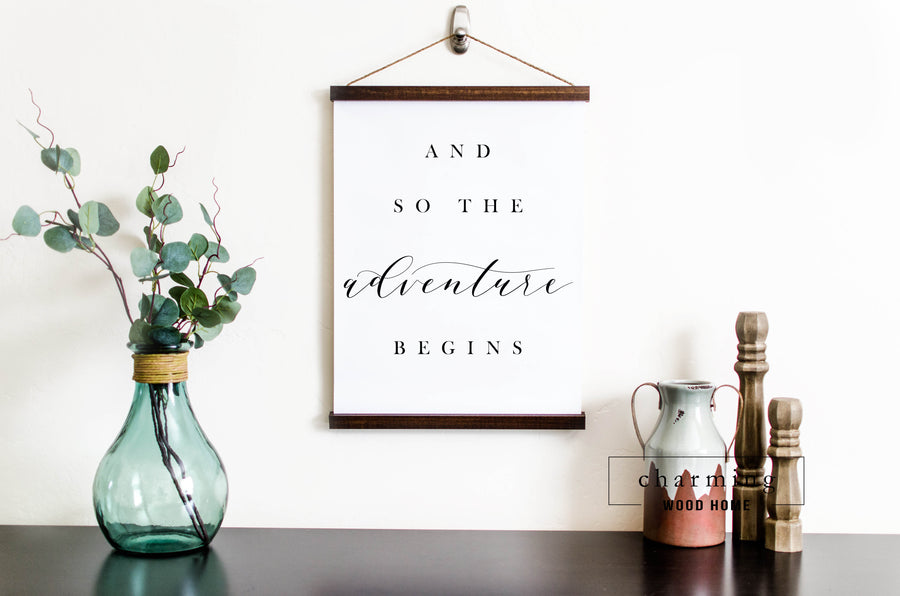 And So The Adventure Begins Hanging Canvas Sign - Charming Wood Home