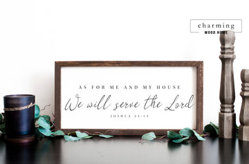 As for Me and My House We Will Serve the Lord Painted Wood Sign - Charming Wood Home
