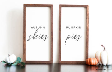 Autumn Skies Pumpkin Pies Set of Two Painted Wood Signs - Charming Wood Home