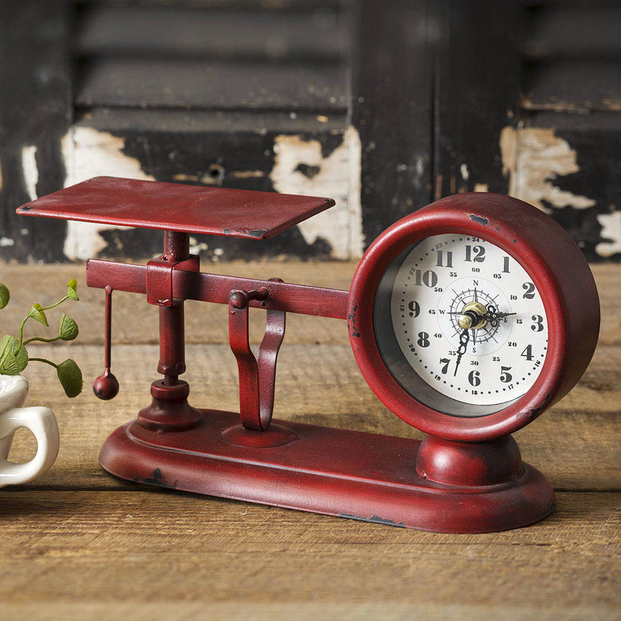 Balance Scale Clock Red - Charming Wood Home