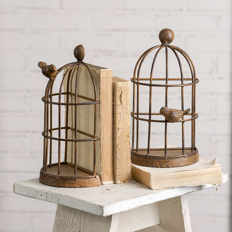 Bird Cage Bookends - Charming Wood Home