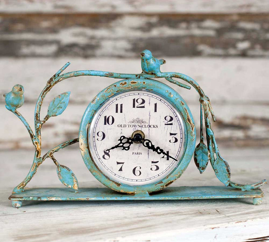 Songbird Blue Mantel Clock - Charming Wood Home