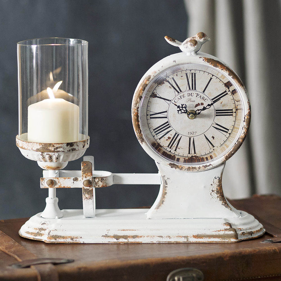 Café Du Parc Candle Holder and Clock - Charming Wood Home