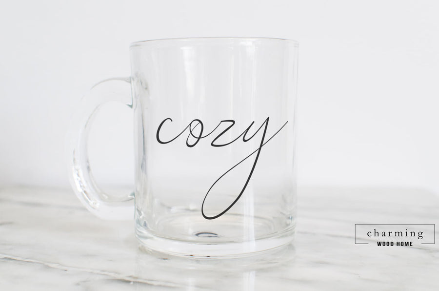 Cozy Calligraphy Glass Mug - Charming Wood Home