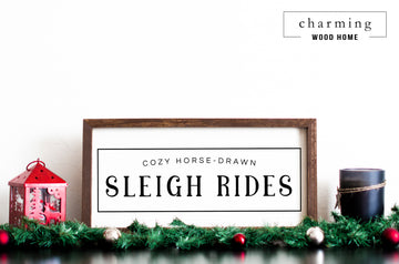 Sleigh Rides Cozy Horse-Drawn Christmas Sign - Charming Wood Home