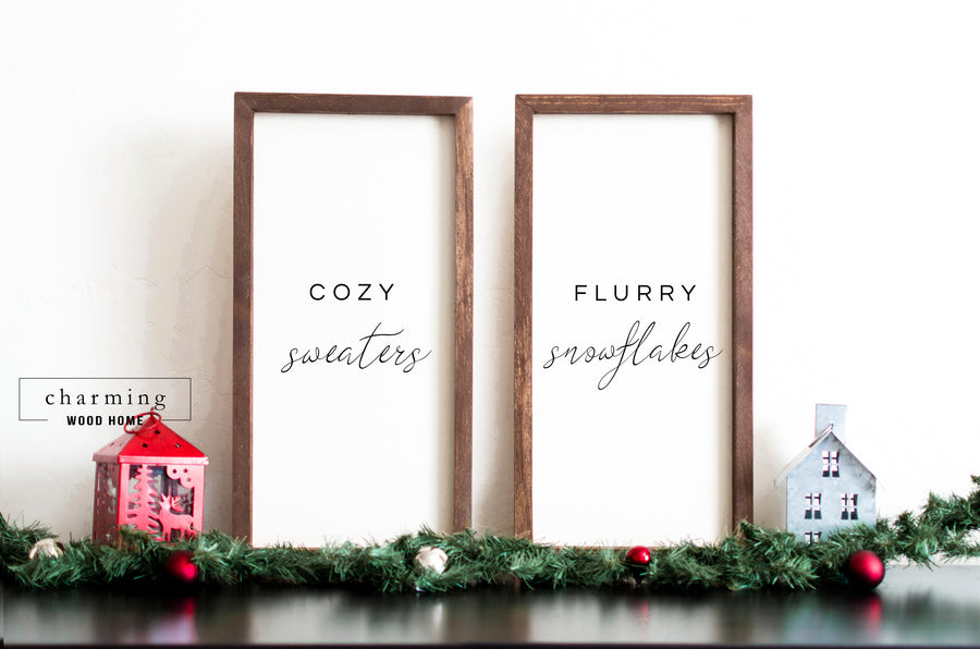 Cozy Sweaters Flurry Snowflakes Christmas Wood Sign Set - Charming Wood Home