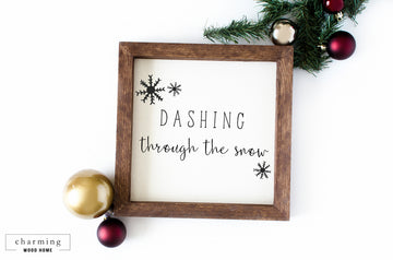 Dashing Through The Snow Christmas Wood Sign - Charming Wood Home