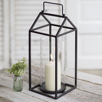 Devon Black Metal Lantern - Charming Wood Home