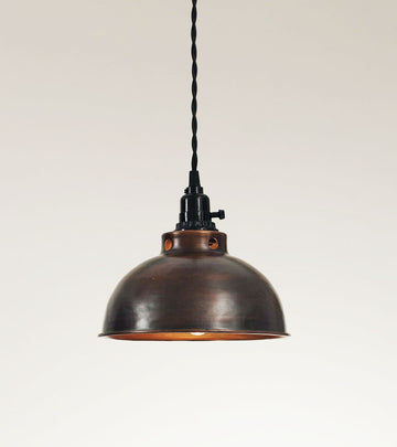 Dome Pendant Lamp - Aged Copper - Charming Wood Home