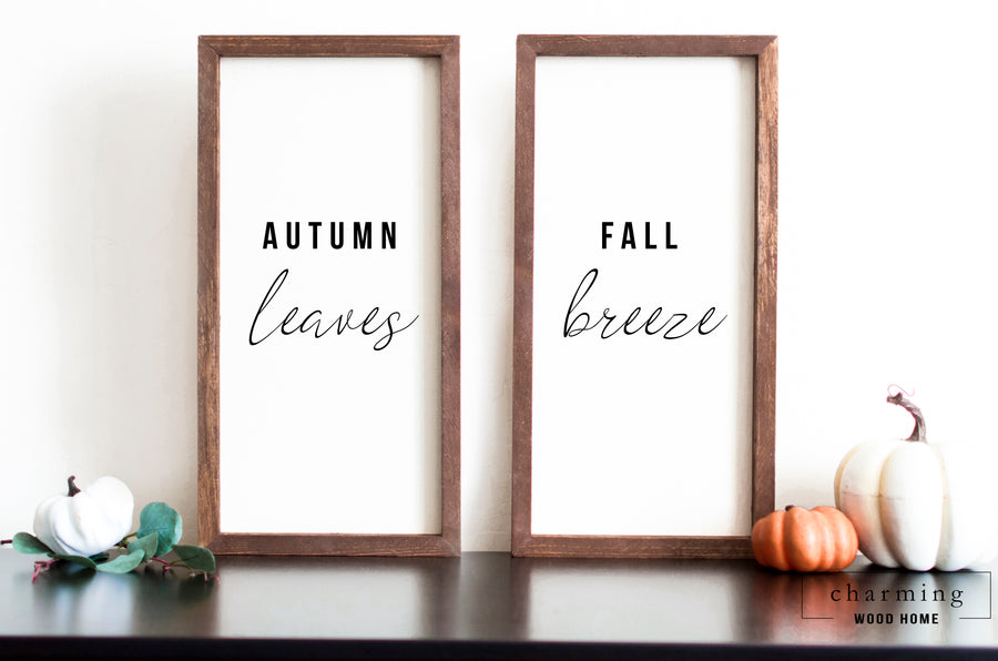 Fall Breeze Autumn Leaves Set of Two Painted Wood Signs - Charming Wood Home
