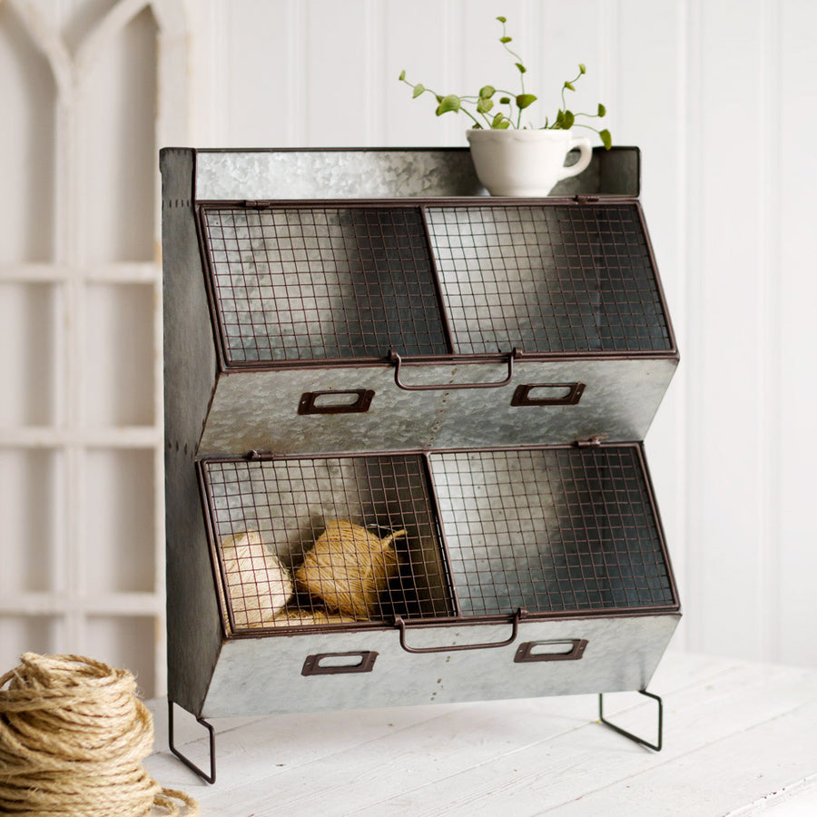 Four Bin Wall Organizer with Wire Mesh Lids - Charming Wood Home