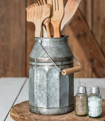 Galvanized Milk Can with Handle - Charming Wood Home