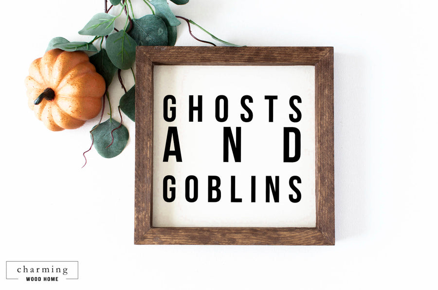 Ghosts and Goblins Halloween Painted Wood Sign - Charming Wood Home
