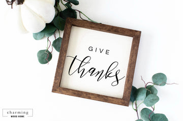 Give Thanks Fall Painted Wood Sign - Charming Wood Home