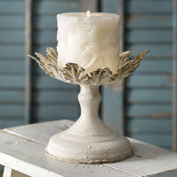 White and Gold Leaf Pillar Candle Holder - Charming Wood Home