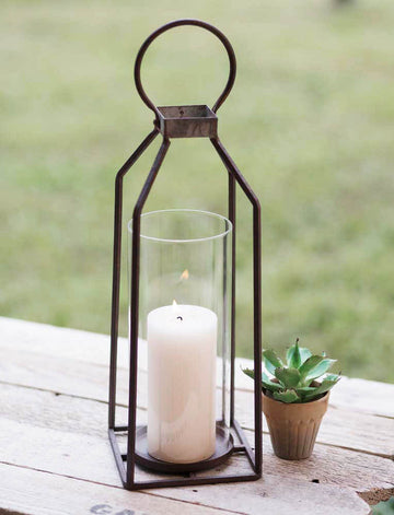 Large Greenville Pillar Candle Lantern - Charming Wood Home