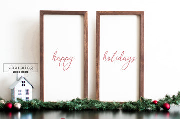 Happy Holidays Wood Sign Duo Set of Two - Charming Wood Home