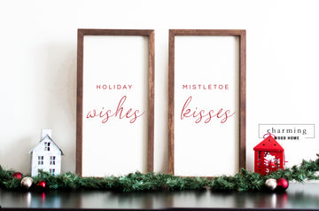 Holiday Wishes Mistletoe Kisses Wood Sign Duo Set - Charming Wood Home