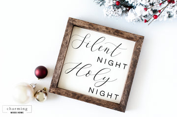 Silent Night Holy Night Square Wood Sign - Charming Wood Home