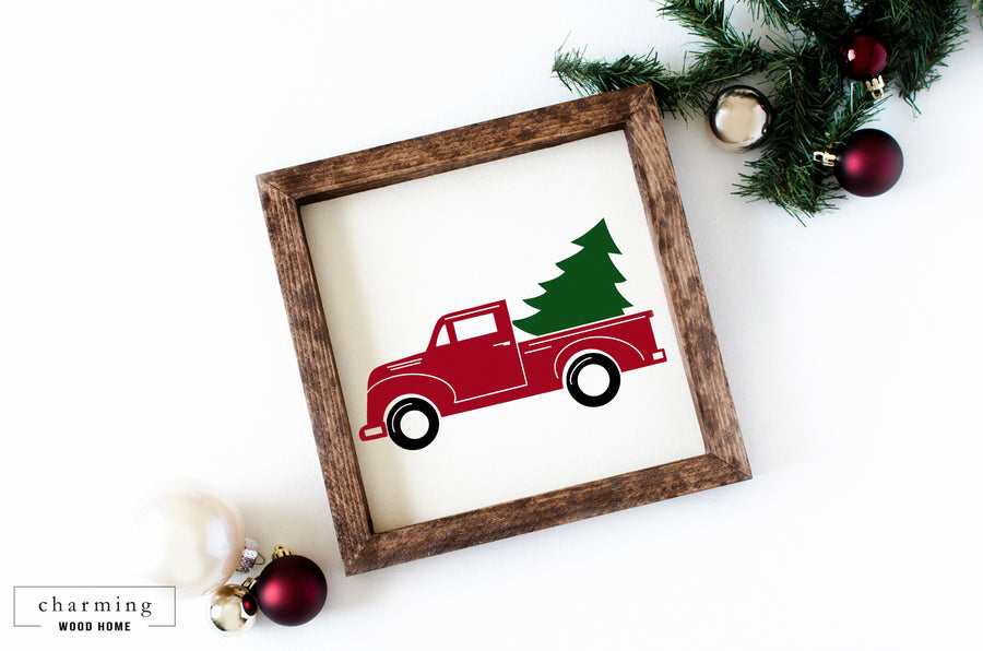 Farmhouse Red Christmas Tree Truck Wood Sign - Charming Wood Home
