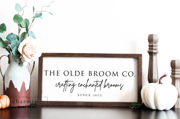 The Olde Broom Co Wood Sign - Charming Wood Home