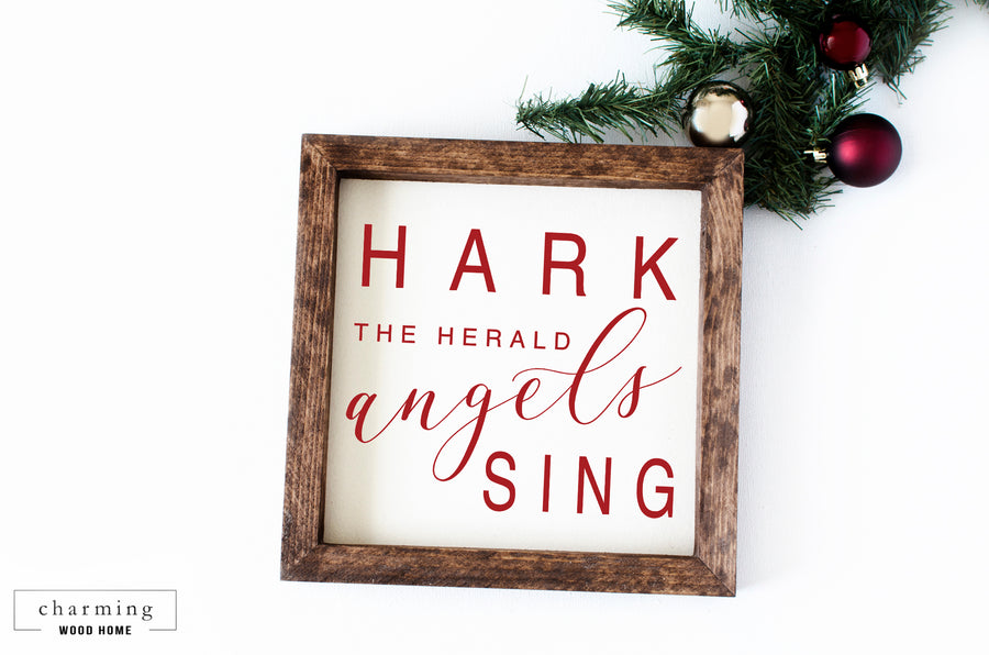 Hark the Herald Angels Sing Wood Sign - Charming Wood Home