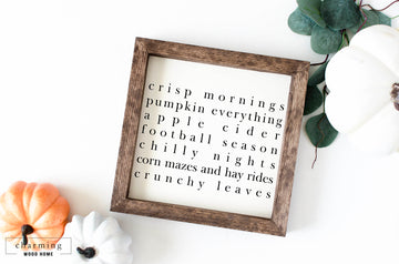 Crisp Mornings Pumpkin Everything Painted Wood Sign - Charming Wood Home