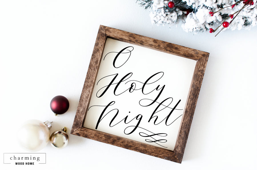 O Holy Night Square Wood Sign - Charming Wood Home