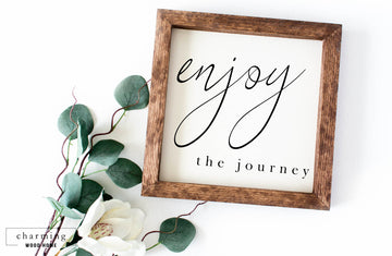 Enjoy the Journey Painted Wood Sign - Charming Wood Home