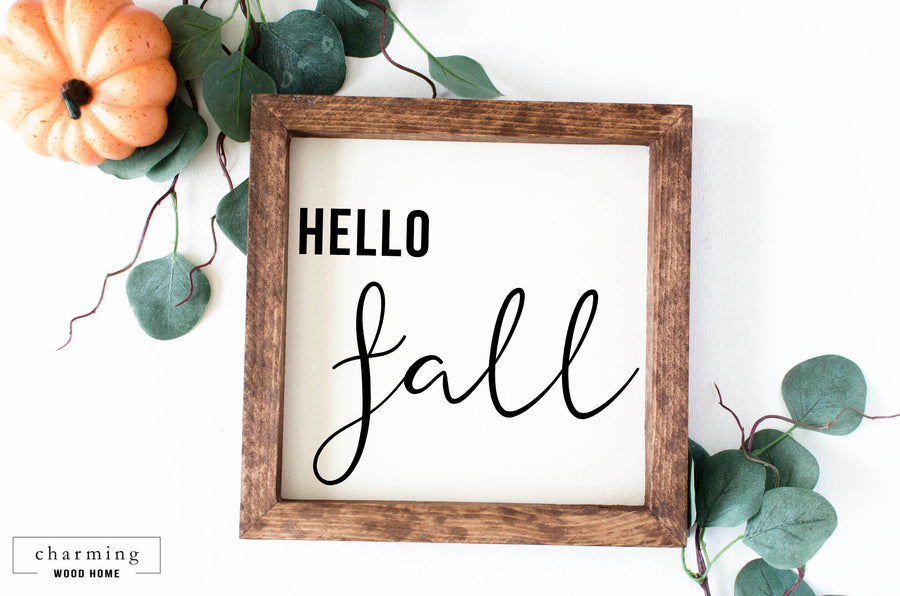 Hello Fall Painted Wood Sign - Charming Wood Home