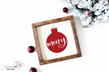 Merry Ornament Wood Sign - Charming Wood Home
