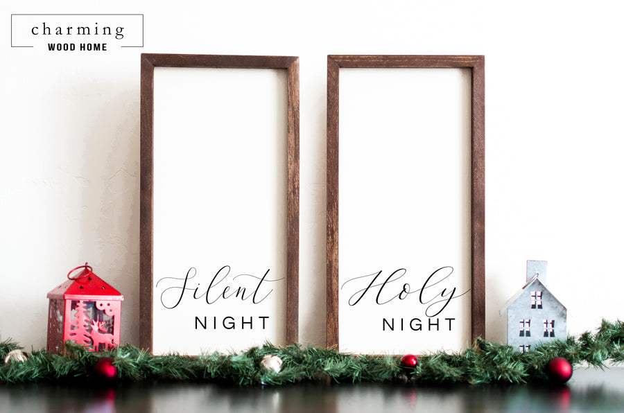 Silent Night Holy Night Wood Sign Duo - Charming Wood Home