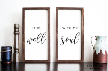 It Is Well With My Soul Two Set Painted Wood Sign Duo - Charming Wood Home