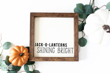Jack-o-lanterns Shining Bright Painted Wood Sign - Charming Wood Home