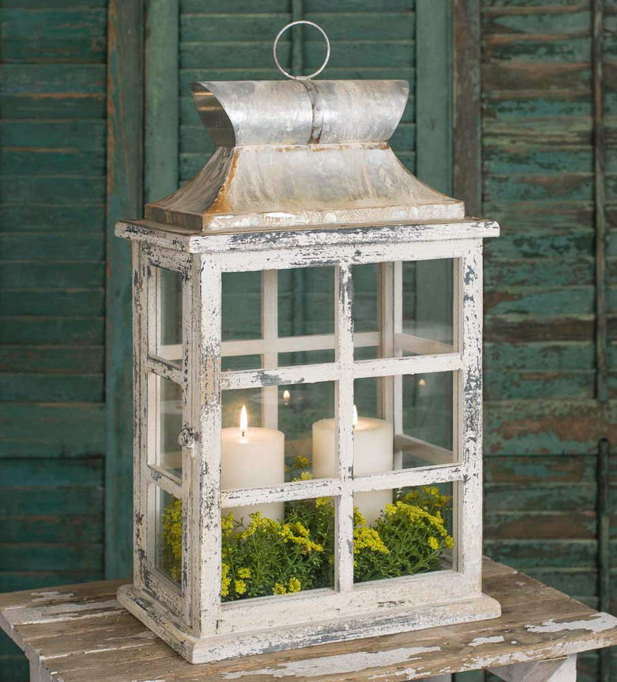 Large Windowpane Lantern - Charming Wood Home